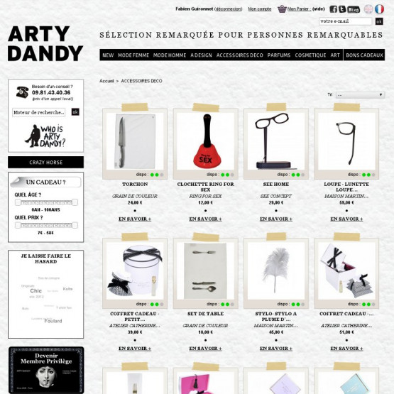 Arty Dandy - Arty Dandy - Galerie Store - Page gamme