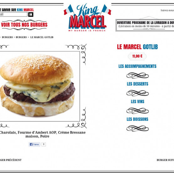 King Marcel - King Marcel - My Burger is French - Page menu